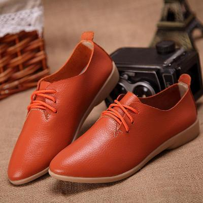 flats leather mom solid color casual loafers shoes