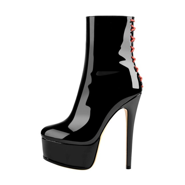 Platform Stiletto High Heel Patent leather Ankle Boots