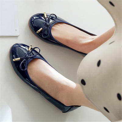Women's casual round head bow flat shoes