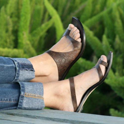 Women Slip-on Vintage Flip-flops Summer Flat Heel Sandals