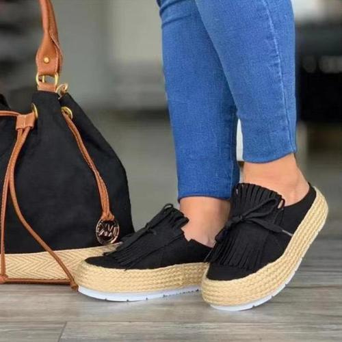 Bowknot Tassel Thick Sole Platform Shoes