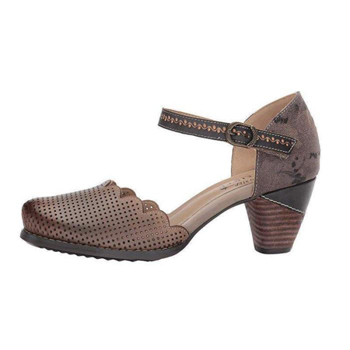Women Vintage Wave Edge Ankle-Strap Hollow Mary Jane Sandals