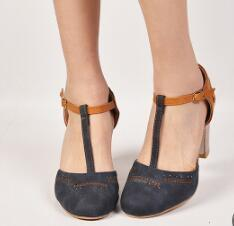 Chunky High Heels Fashion Office Ladies Vintage PU Leather Shoes