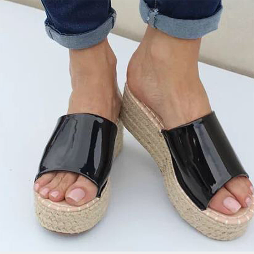 Women's PU Peep Toe Espadrille Middle Wedge Heel Slippers
