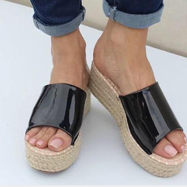 Women's PU Peep Toe Espadrille Middle Wedge Heel Slippers