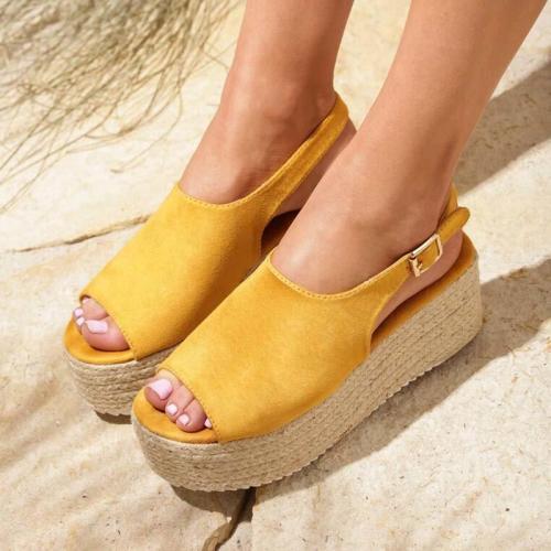 Espadrille Open Toe Buckle Strap Summer Platform Sandals
