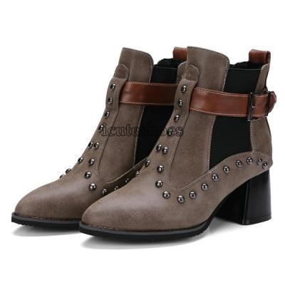 Ankle Boots Pointed Toe Square High Heel Winter Boos