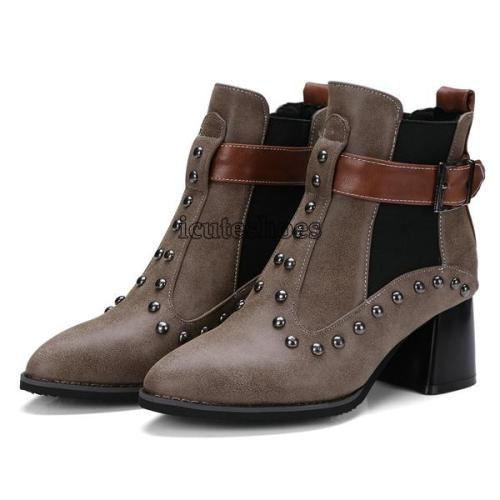 Ankle Boots Pointed Toe Square High Heel Winter
