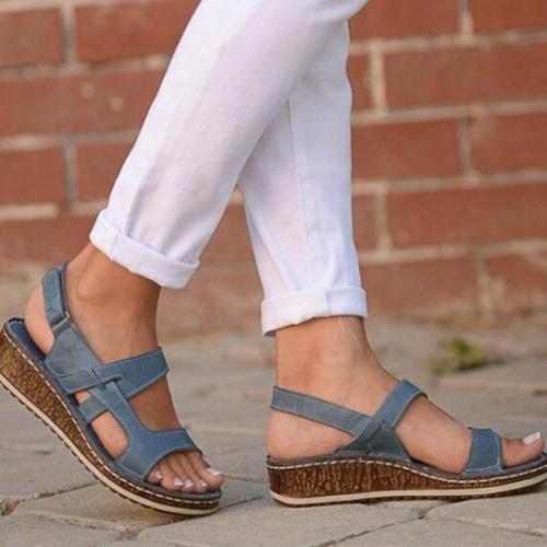 Low Wedges Heels Strap Hook&Loop Sandals