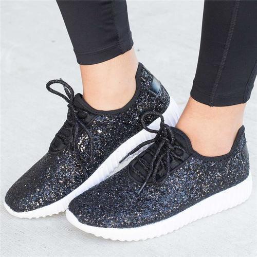 Sparkling Glitter Flat Heel All Season Daily Sneaker