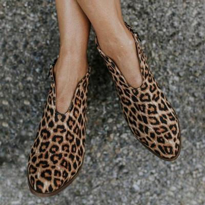 Women Deep V Sexy Booties Casual Comfort Plus Size Zipper Shoes