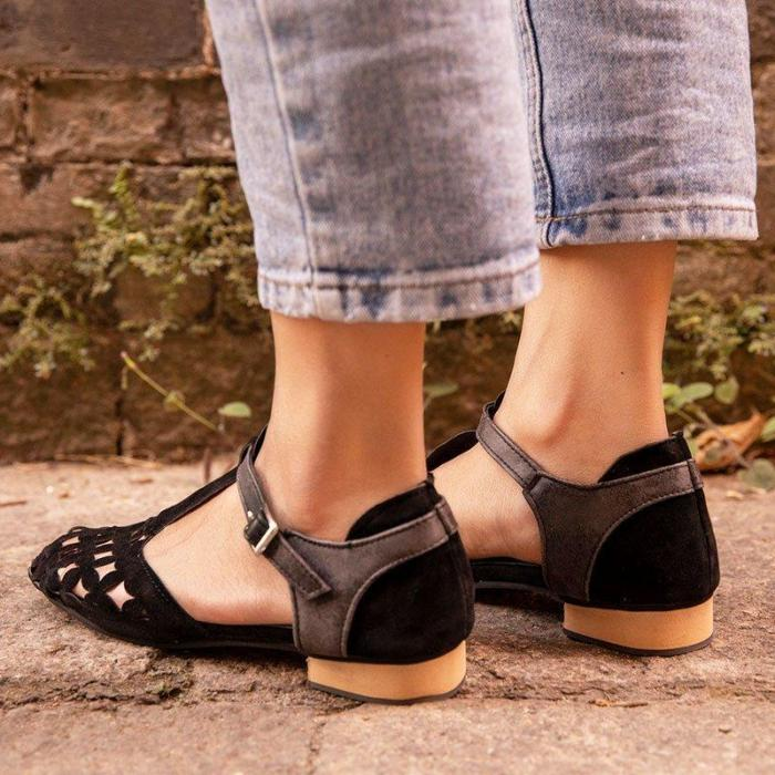 Women Hollow-Out Sandals Low Heel Faux Suede Flat Shoes