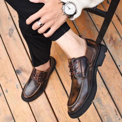 Men Vintage Lace Up Brogue Shoes Retro Business Flats