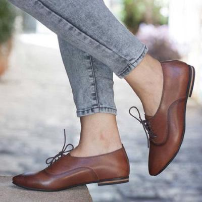 Pu Lace-Up Flat Heels Point Toe Shoes