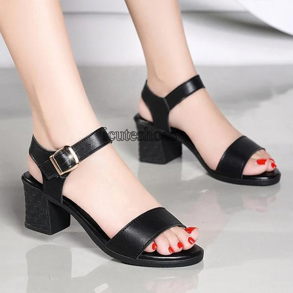 Sandals Women's New Summer Word Buckle Thick and Waterproof Platform Chunky Heeled Shoes