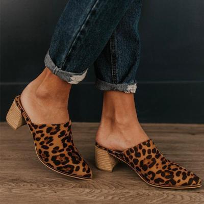 Chic Pointy Toe Medium Heel Chunky Mule Sandals