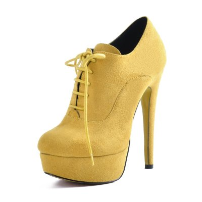 Platform Lace Up Stiletto High Heels Yellow Suede Leather Ankle Bootie