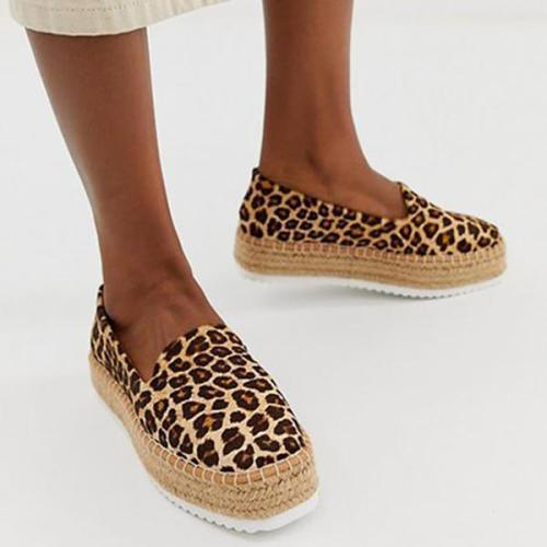 Flocking Upper Straw-Weaved Platform Slip-On Shoes