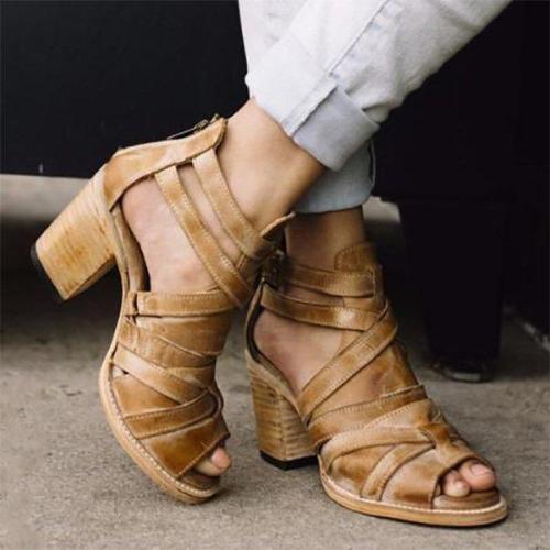 Vintage Buckle Strap Chunky Heel Sandals