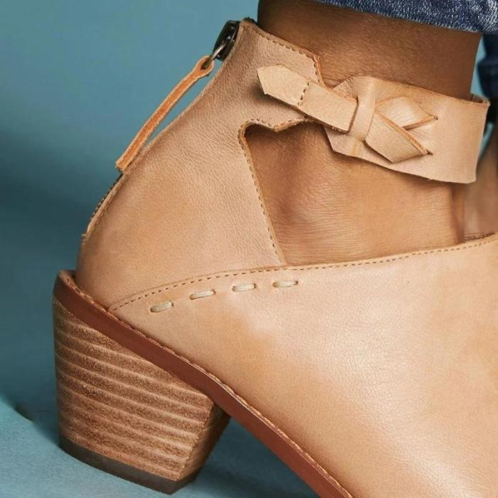 Vintage Leather Boots Chunky Heel Zip Strap Shoes Female Comfortable Shoes