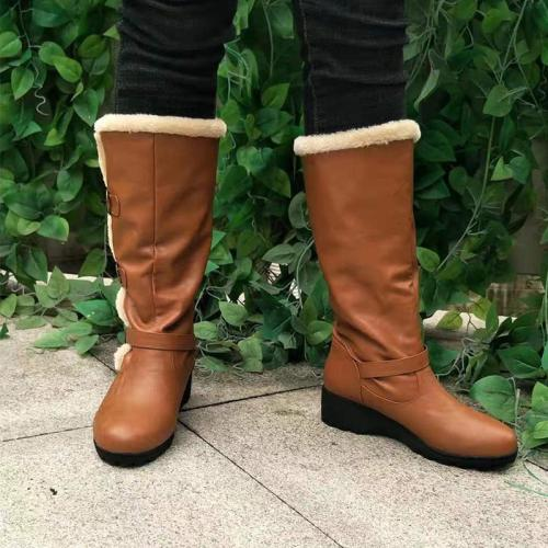 Women Plus Size Solid Low-heel Boots