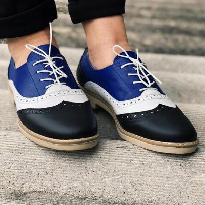 Color Block Laser Cut Flat Lace-Up Saddle Shoes