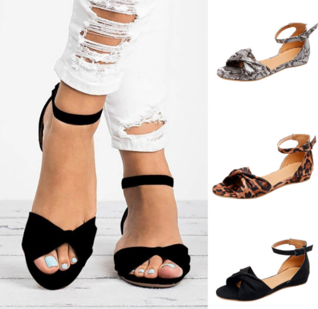 Women's PU Peep Toe Buckle Wedge Heel Flat Sandals