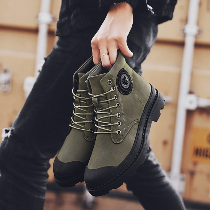Men's High Help Casual Straight Tube Martin Boots