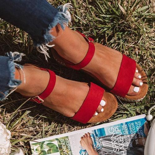 Women Adjustment Buckle Flat Sandals