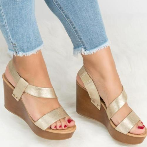 Women Simple Solid Band Ankle Strap Wedges Sandals