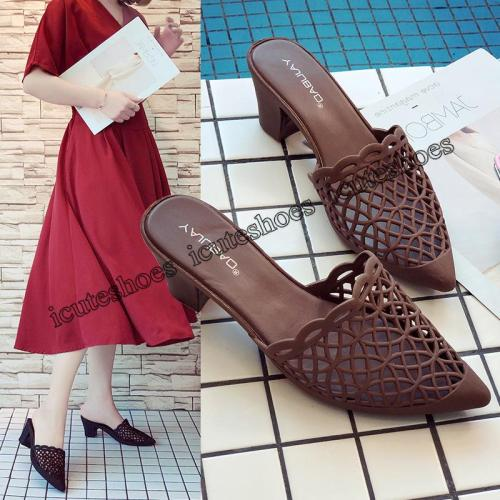 New High-heeled Women's Sandals with Thick Heels and Pointed Fashion Cool Slippers