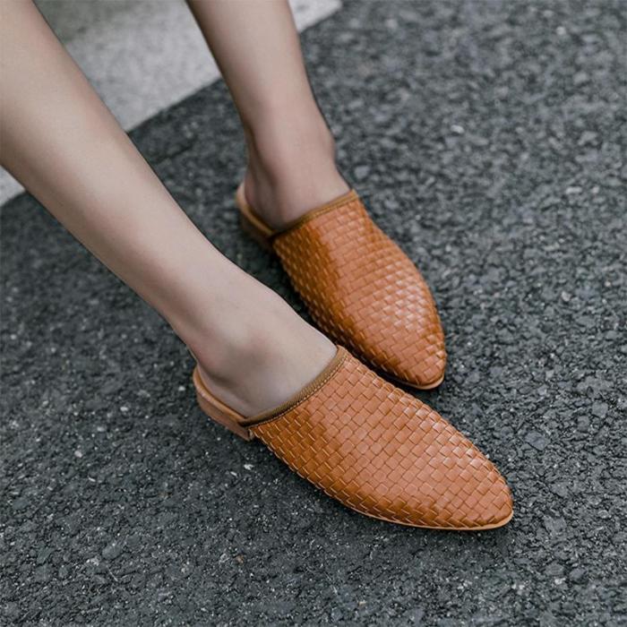 Weaved Pointy Toe Women Mules Sandals
