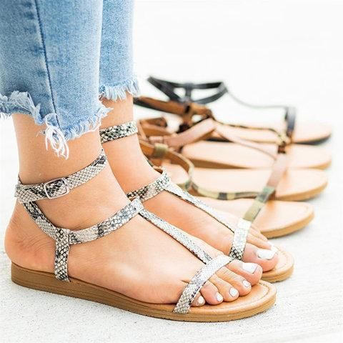 Women's PU Round Toe Rome Style Adjustable Buckle Beach Flat Sandals