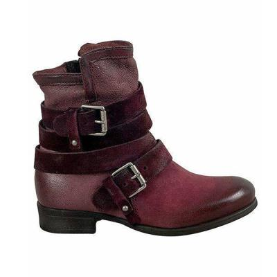 Women Casual Vintage Buckle Boots Zipper Shoes
