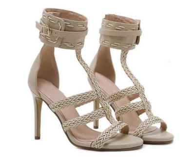woven PU leather girl  ladies sandals cut out women thin high heels sexy pumps