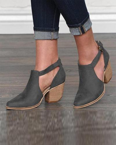 Block Heel Strap Ankle Bootie