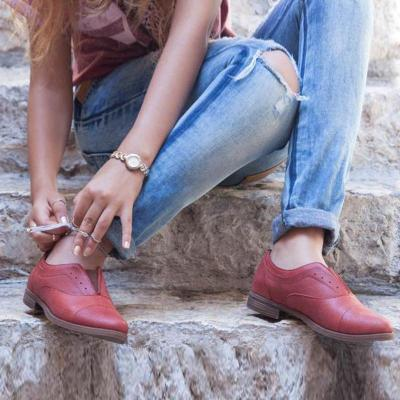 Red Pu Elastic Rubber Front Flats Slip-On Shoes