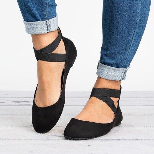 Black Faux Suede Ballerina Flats