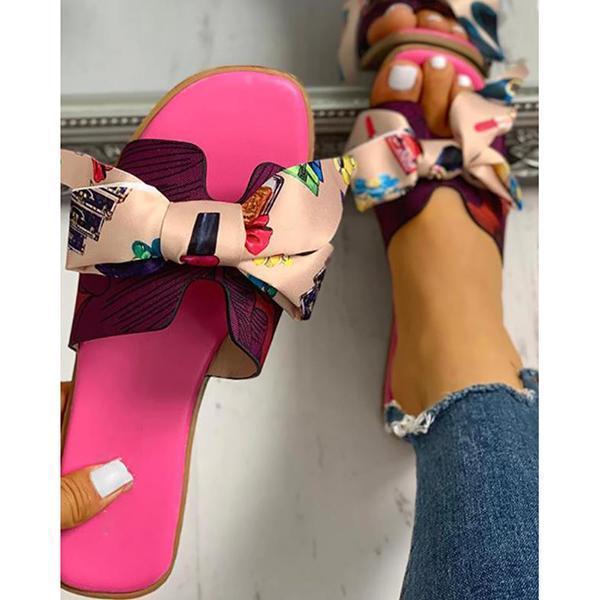 Women Fashion Casual Bow Flat Sandals