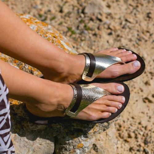 Women's PU Round Toe Flat Heel Flip-flops
