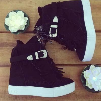 Fringed Adjustable Buckle Wedge Shoes