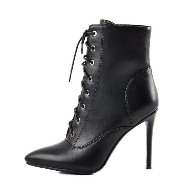 Pointy Toe Lace up Stiletto High Heel Ankle Boots