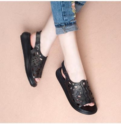 Summer Genuine Leather Vintage Style Laides Shoes Flat Sandals