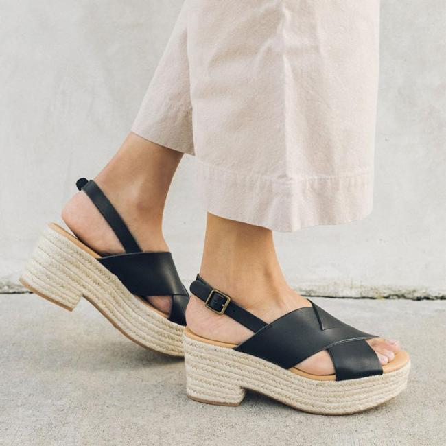 Straw-Weaved Platform Fashion Buckle High Heels Sandals