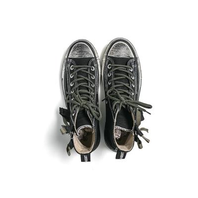 High-top zipper couple canvas shoes