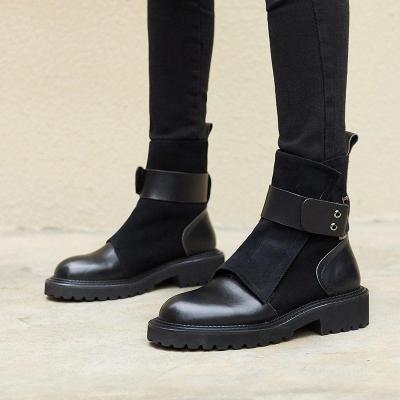 Fashion casual ladies belt buckle stitching ankle boots