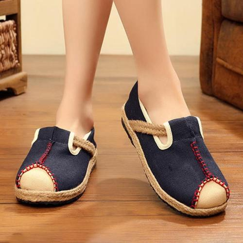 Women Color Blocking Flat Slip On Loafers