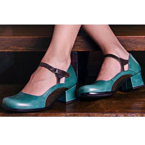 Women Heels Color Block Closed Toe Sandals