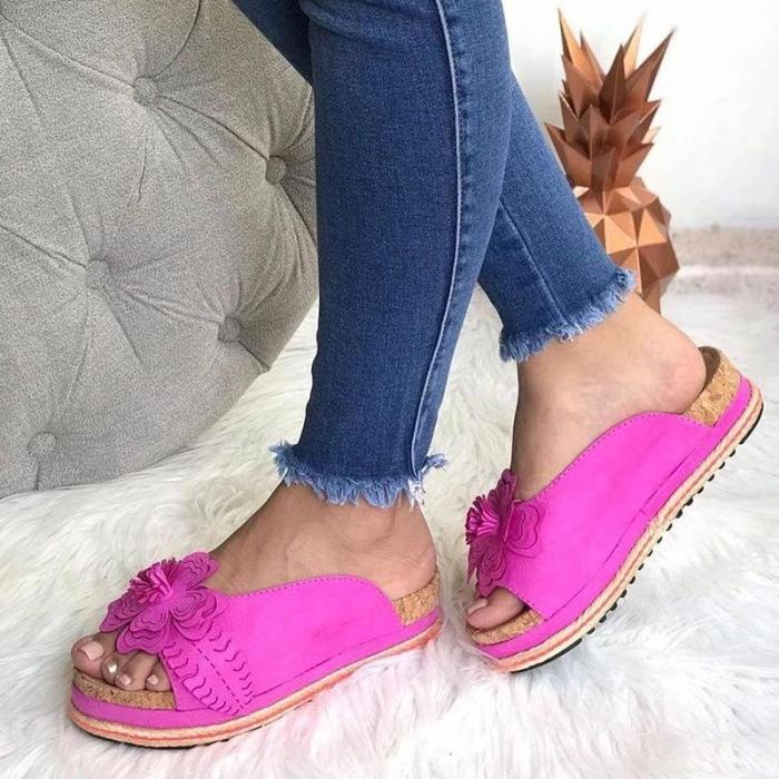 Fashion Wome Summer Flower Slip On Slippers