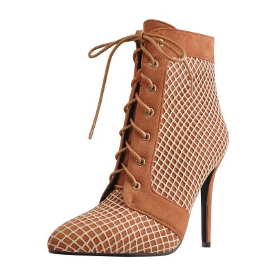 Lace Up Pointed Toe Brown Mesh Stiletto High Heel Ankle Boots